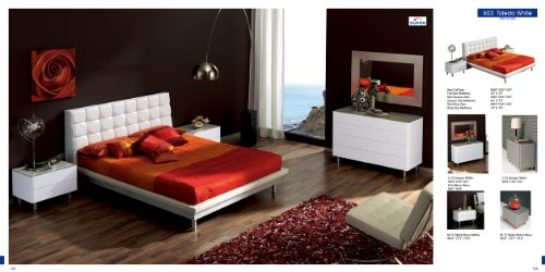 ESF Toledo White Leatherette & High Gloss Lacquer Platform Bedroom Set- King Size