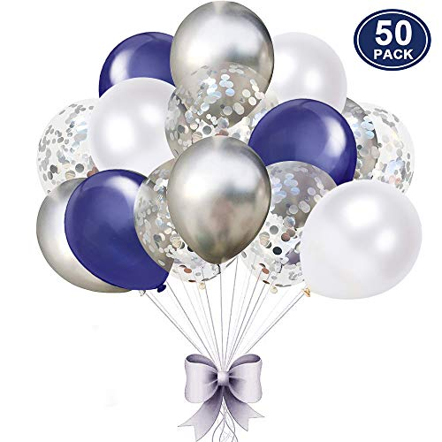 50 pcs Navy Blue and Silver Confetti Balloons, 12 inch White Pearl and Silver Metallic Party Balloons for Graduation Bachelorette Birthday Decorations]()