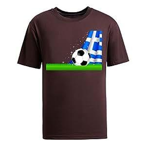 Custom Mens Cotton Short Sleeve Round Neck T-shirt,2014 Brazil FIFA World Cup Soccer Greece brown