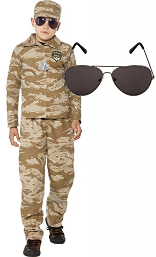 Desert Army Boy Soldier Kids Fancy Dress Costume Outfit With Avaitors Age 10-12 (Soldiers Outfit)