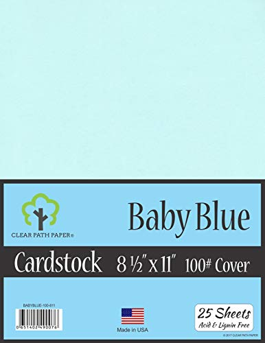 Baby Blue Cardstock - 8.5 x 11 inch - 100Lb Cover - 25 - Baby Blue Cardstock