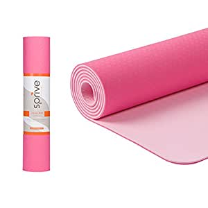 "Dual Color TPE Yoga Mat (6mm, Ice Cream Pink/Rose), Sprive Standard size 72"" x 24"". Eco-Friendly, Durable, Non-Slip, and includes carrying strap"