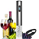 Electric Wine Opener Automatic Corkscrew Openers Aluminium Body Unrechargeable With Foil Cutter (Silver)