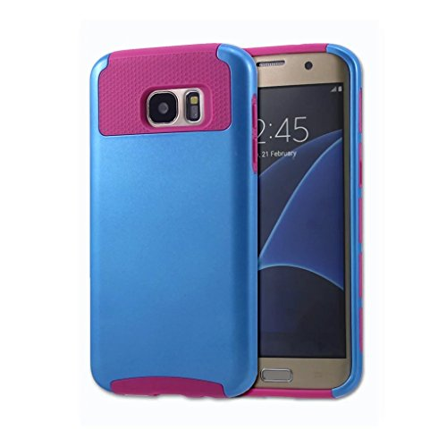Shockproof Hard TPU Case for Samsung Galaxy S7 Edge (Hot Pink/Blue) - 4