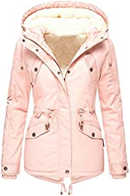 Alough Women Coat Plus Size Casual Button Pockets Warm High Low Long Sleeve Hooded Jacket Winter Fall Snow 5x