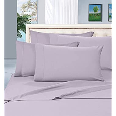 Elegant Comfort 1500 Thread Count Wrinkle & Fade Resistant Egyptian Quality Hypoallergenic Ultra Soft Luxurious 4-Piece Bed Sheet Set, Queen, Lilac
