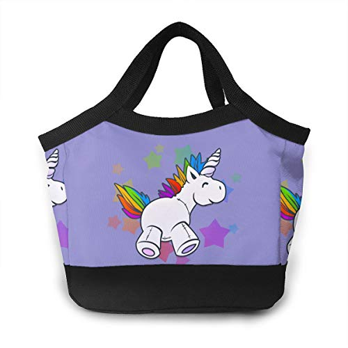 YVONNE WIDLAN Polyester Lunch Bag Tote Reusable Waterproof Lunchbox Unicorns Carry Handbags with Leak Proof Liner for Men, Women