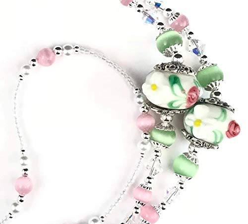 (Roses and Daisies, Beaded Lanyard for Women, Badge, ID Holder, Keychain, Lanyard for Teacher, Nurse or Office, Teacher Gift, Nurse Gift, 34 inches, Lampwork Beads, White Pearls, Crystal, Handmade)