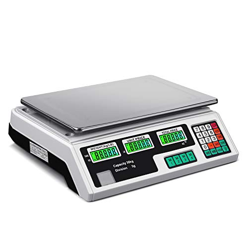 e7b830a59104 Flexzion Digital Scale Electronic Price Computing Rechargeable Battery  Scale 66lb, Commercial Deli Food Produce Counting Fruit Meat Weighing,  Farmers ...