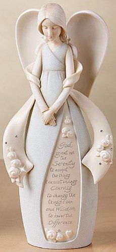 "Foundations Serenity Prayer Angel Stone Resin Figurine, 9"""