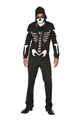 [Dustin Bones Glow In The Dark Hoodie Skeleton Roleplay Costume, Large, Black] (Hot Halloween Costumes For Guys)