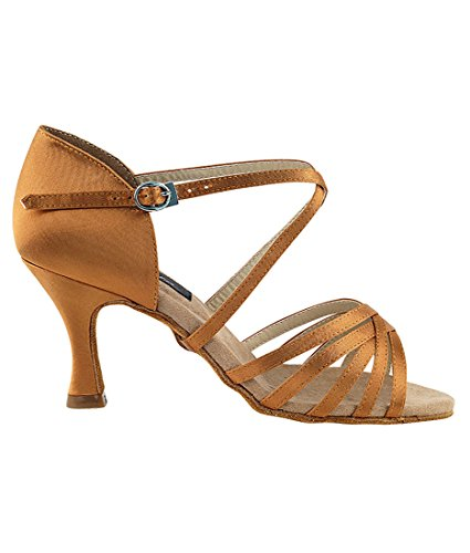 Brush Inch Very 5 Ballroom Women Shoes Dance Tan Fine 2 Foldable Bundle CD2001 Heel Dark Satin for Latin Tango Salsa rZnF7rx