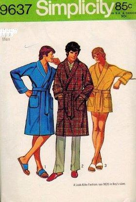 Raglan Wrap - Simplicity 9637 Sewing Pattern Vintage 1971 Men's XL Wrap Belted Shawl Collar Raglan Sleeve Robes in Three Lengths