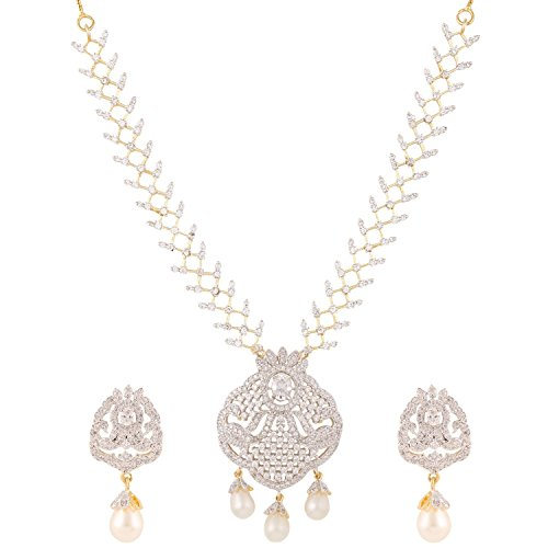 Swasti Jewels American Diamond CZ Zircon Fashion Jewelry Set Necklace Earrings for Women by Swasti Jewels