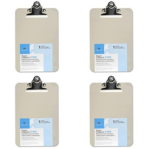 Mini/Small Transparent Clipboard (6 x 9 inches), 4 Packs