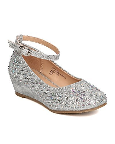 Girls Glitter Leatherette Rhinestone Ankle Strap Wedge Heel GC47 - Silver (Size: Little Kid -
