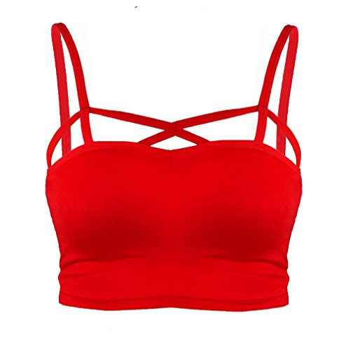 Dreagal Criss Cross Cutout Bralette Seamless Bra Padded Sports Bra Red One Size