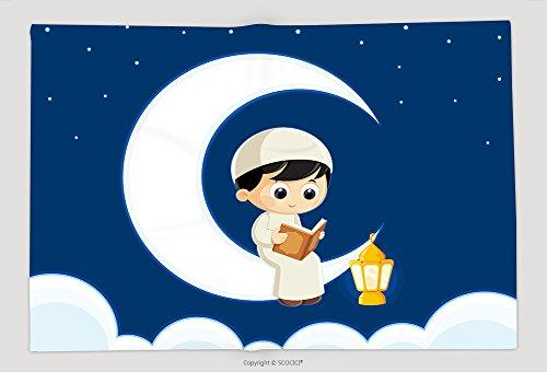 Supersoft Fleece Throw Blanket A Muslim Boy Reading Quran Quran Is The Holy Book Of Islam Ramadan Greeting Card 590285312 by vanfan