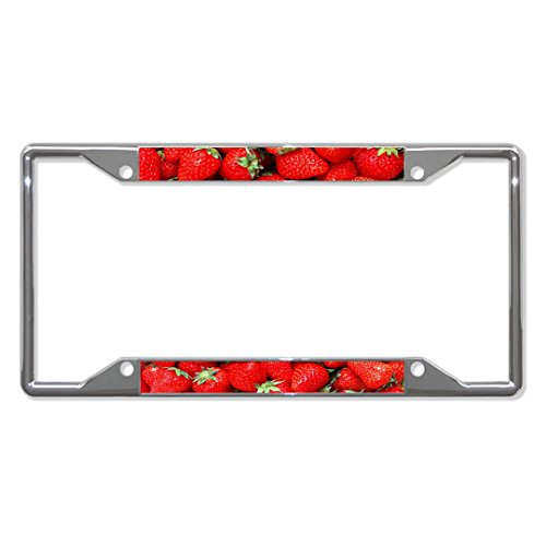 Ladies Pow Spurs - Strawberry Metal License Plate Frame Tag Border Four Holes Perfect for Men Women Car garadge Decor