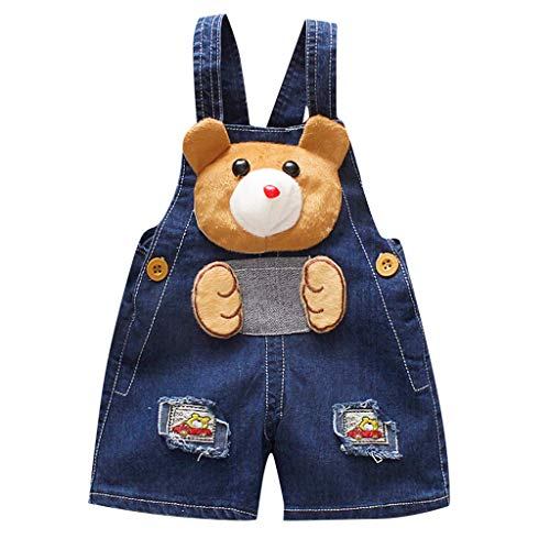 Iuhan Baby Boys Girls Denim Overall Clothes Playwear for Toddler Kids Baby Boys Girls 3D Cartoon Bear Dog Overall Denim Pants - Bear Denim Overalls