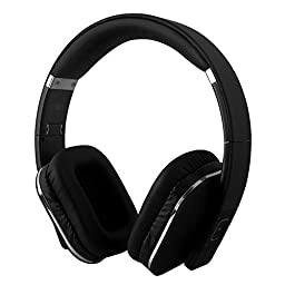 August EP650 Bluetooth Wireless Over Ear Headphones with Multipoint / NFC / 3.5mm Audio In / Headset Microphone - Black