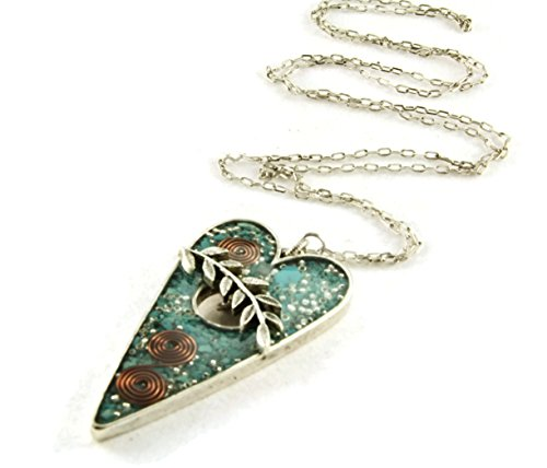 (Orgone Energy Toggle Heart Long Statement Necklace in Antiqued Silver Finish with Turquoise)