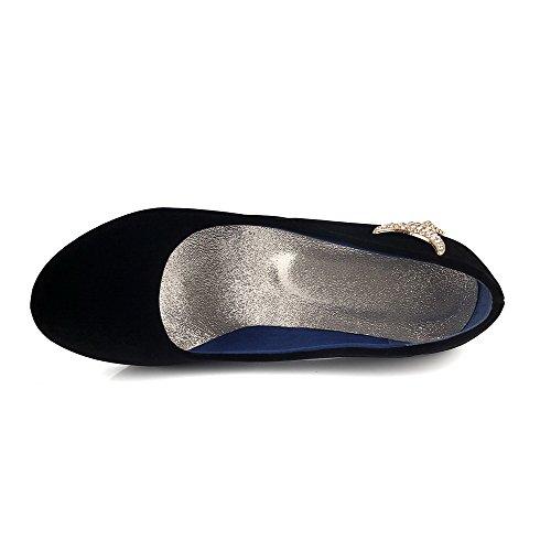 Amoonyfashion Femmes Imité? Daim Solide À Bout Rond Bout Fermé Talons Hauts Pompes-chaussures Noir