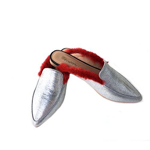 Tongpu Womens A Souligné Les Orteils Mule Chaussures Chaussures Plates Pour Les Femmes Rouges