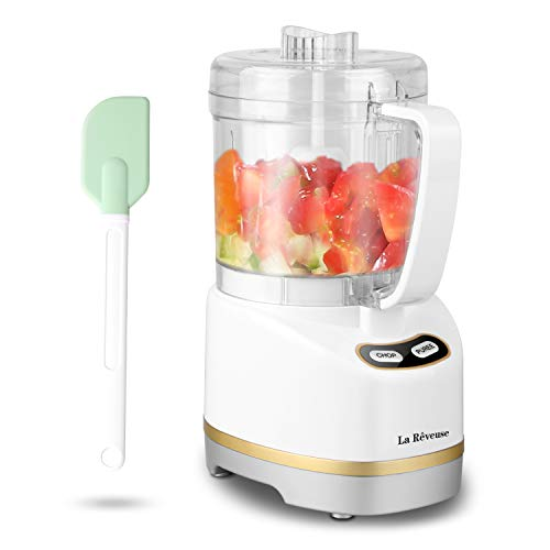 La Reveuse Electric Mini Food Processor with 200 Watts,2-Cup Prep Bowl for Mincing,Chopping,Grinding,Blending,Pureeing,White
