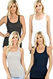 Zenana Outfitters 4 Pack Womens Basic Ribbed Racerback Tank Top - Charcoal, Navy, White, Heather Grey - 1X
