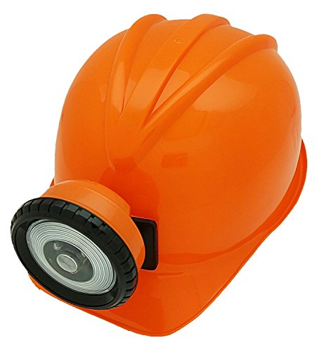 [Toy Miner's Helmet with Functional LED Light (Orange)] (Coal Miner Costume)