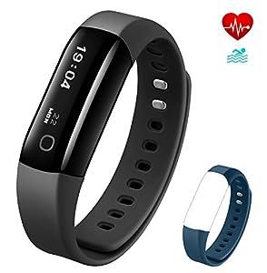 Vigorun Fitness Tracker 4 Bracelet Intelligent Surveillance du Rythme Cardiaque en Temps Réel IP68 étanche Podomètre Calories Surveillance du Sommeil Notifications Quotidiennes pour Android et iOS
