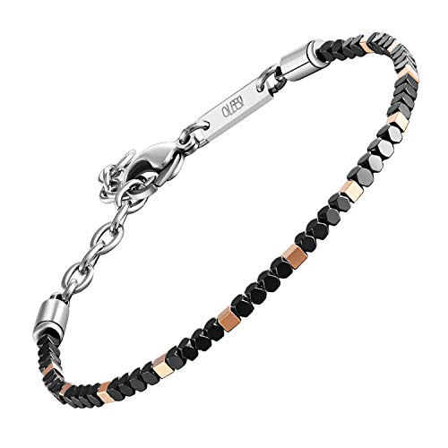 - QLEESI Hematite Bracelet Designs from Italy, 6.99Inches - 8.59Inches, 2mm Natural Black Bead Cuff with Adjustable Lobster Clasp, Magnetic Hematite Bangle for Mens and Womens (Rose Gold Plated)