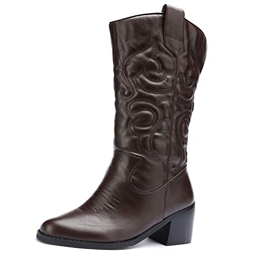 Odema Women's Western Cowboy Cowgirl Boots Stacked Heel Mid Shaft Boot with Pull On Tabs ()