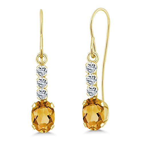 - 1.04 Ct Oval Yellow Citrine White Topaz 10K Yellow Gold Earrings
