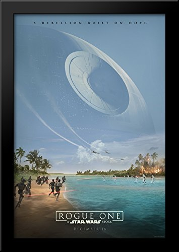 Rogue One A Star Wars Story 28x40 Large Black Wood Framed Print Movie Poster Art