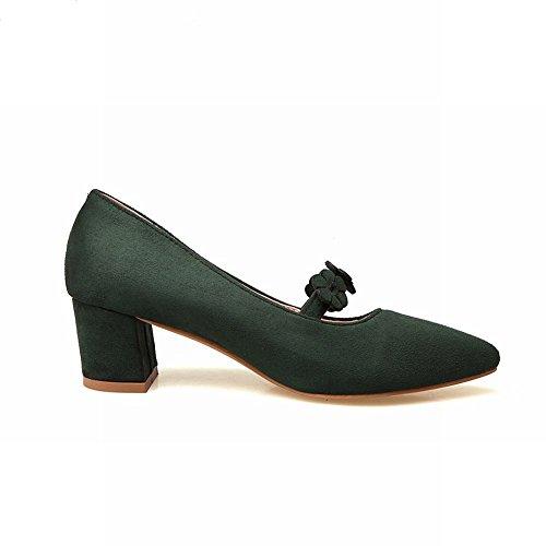 Latasa Womens Flowers Pointed Toe Chunky Heels Dress Pumps Dark Green c9xcf3ESR