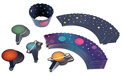 Outer Space Cupcake Toppers and Liners - 100-Piece Planets and Stars Cupcake Wrappers Baking Supplies, Kids Birthday Party Favors for Cake and Muffin Decorations, Solar System Themed ()