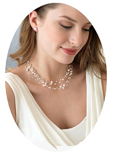 Illusion Necklace Pearl (Christina Collection Multi-Strand Pearl Illusion Necklace Set Floating Boxed (Dr#4) (Ivory))