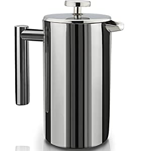 French Press Double-Wall Stainless Steel Mirror Finish (1.75L) Coffee/Tea Maker: Double-Screen System 100% No Coffee Grounds Guarantee, 18/10 Stainless Steel, Rust-Free, Dishwasher Safe, 2 Bonus Scree