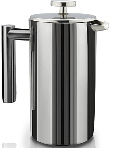 French Press Double-Wall Stainless Steel Mirror Finish (1L) Coffee/Tea Maker: Double-Screen System 100% No Coffee Grounds Guarantee, 18/10 Stainless Steel, Rust-Free, Dishwasher Safe, 2 Bonus Screen