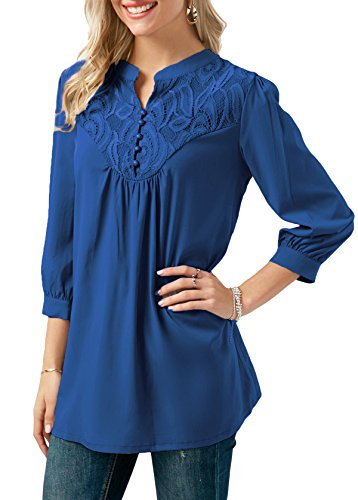 Beautiful Button Front (Anlarhh Women's Notch Neck 3/4 Sleeve Front Button Chiffon Floral Lace Patchwork Loose Fit Tunic Blouses Tops Size XL Blue)