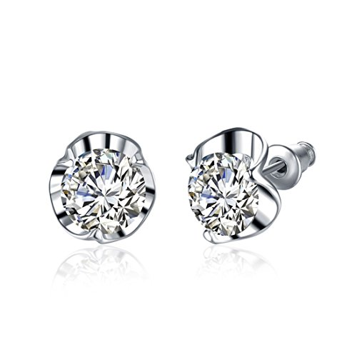 (Runsmooth Platinum Plated Inlay Cubic Zirconia Stud Earrings Jewelry Gift for Women Girls)