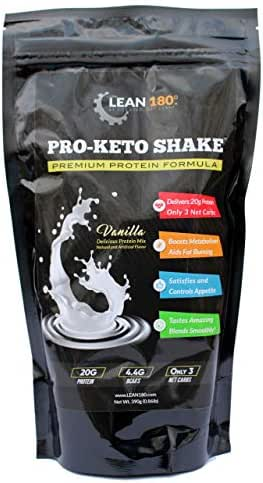 Pro-Keto Shake! Best Tasting Low Carb Low Sugar Clean Protein Shake for Keto and All Diets Weight Loss (Vanilla)