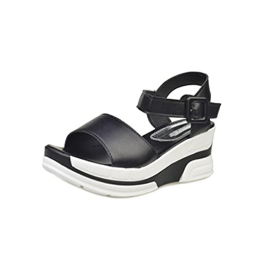 Sandalias, FAMILIZO Sandalias de verano de las mujeres Zapatos Peep-dedo del pie zapatos bajos Sandalias romanas Señoras flip flops Negro