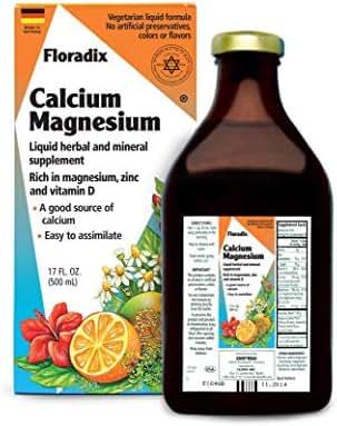 Salus Haus Floradix Liquid Calcium & Magnesium 17 Oz - Natural Vitamins Formula - Support for strong bones - Non GMO, Gluten Free, Vegetarian.