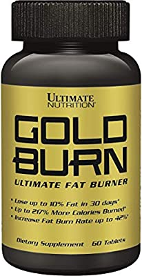 Ultimate Nutrition Gold Burn Potent Fat Burning Herbal Weight Loss Pills with White Kidney Bean and Green Tea, 30 Day Supply