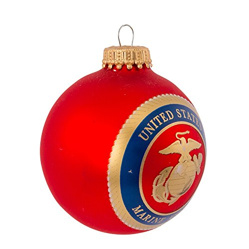 Kurt Adler Glass Marine Corps Logo Ball Ornament, 2 5/8-Inch