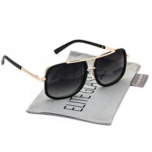 Elite Flat Top Aviator Retro Celebrity Style Classic Square Frame Sunglasses (Black Gold/Black, 2.5) (Black Gold Aviators Sunglasses)