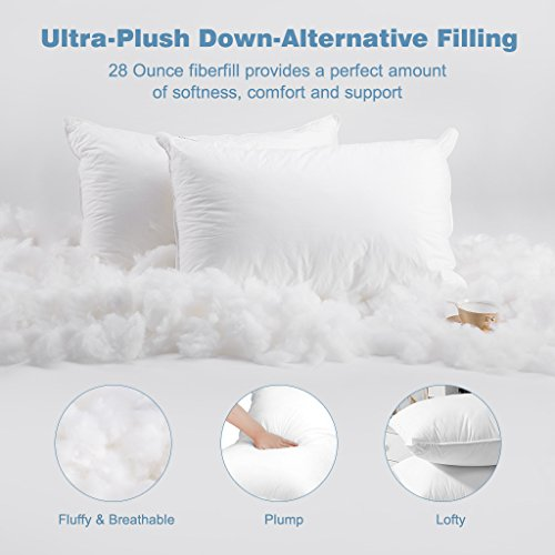 LANGRIA Luxury Hotel Collection Bed Pillows Plush Down Alternative Sleeping Pillow 100% Cotton Cover Soft Comfortable Hypoallergenic Dust-Mite Resistant Queen 20 x 30 (2 Pack)